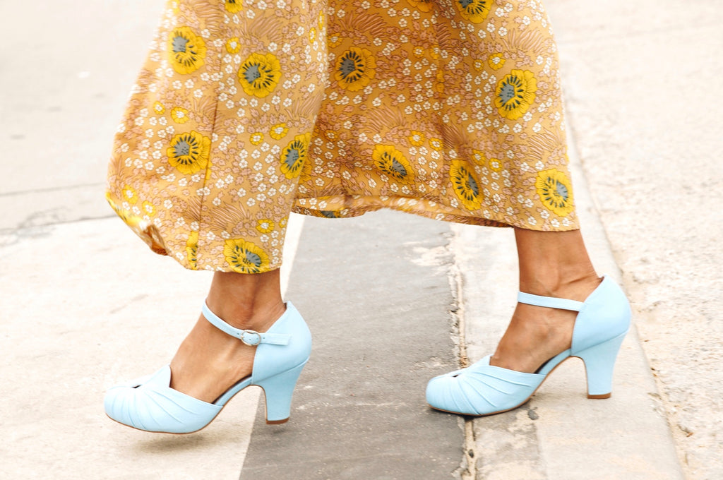 Amber in butter soft pastel blue leather by Miss L Fire is a two part bar shoe with ruching detail. Vintage inspired, always ethically made. Perfect bridal shoes.