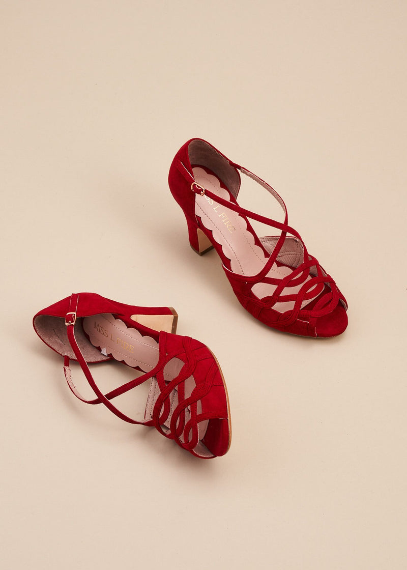 Adele Red Suede Strappy Heeled Sandal
