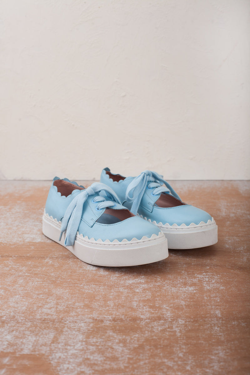 Iris pale blue lace up ladies sneakers with scallop edge detail by Miss L Fire