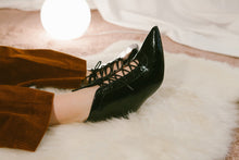 Kitty Black Patent Lace up Kitten Heel Bootie- LAST PAIRS SIZES 36 & 37