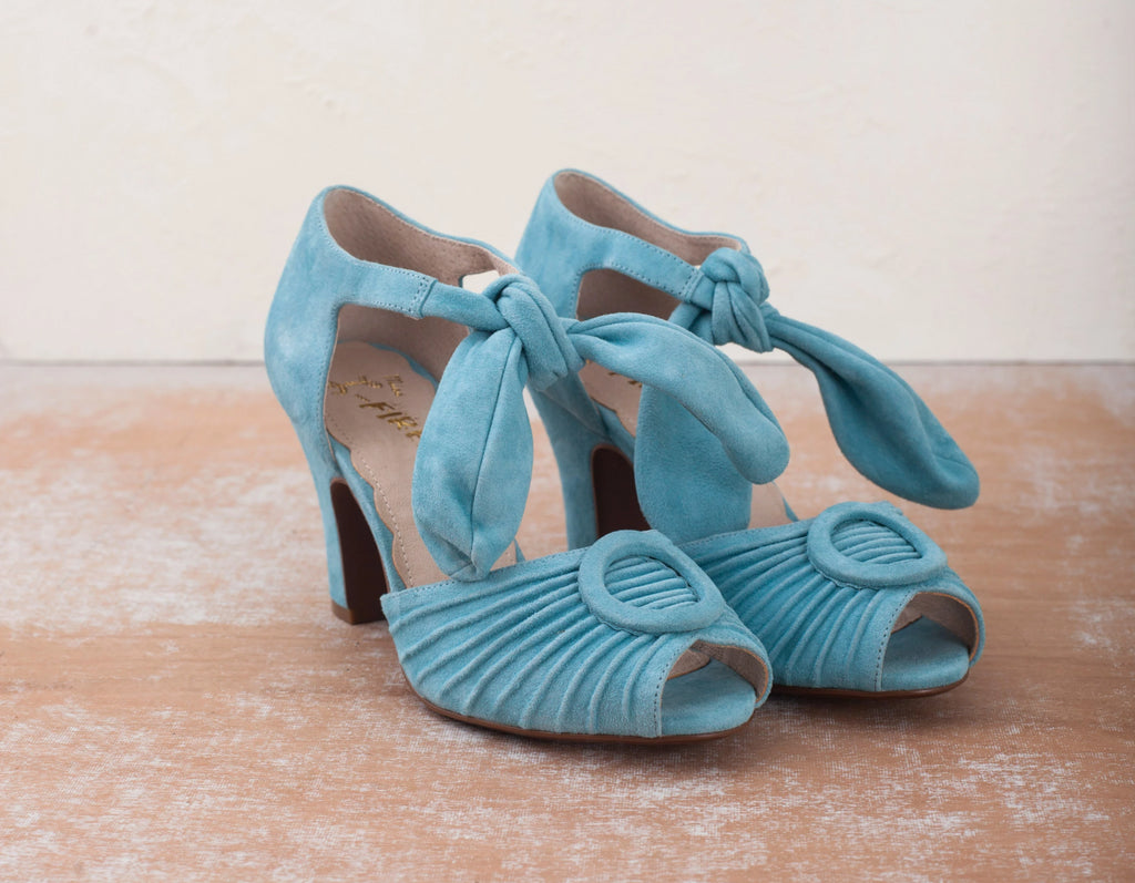 Loretta blue suede peep-toe heels by Miss L Fire. Perfect Bridal or Bridesmaid shoes.