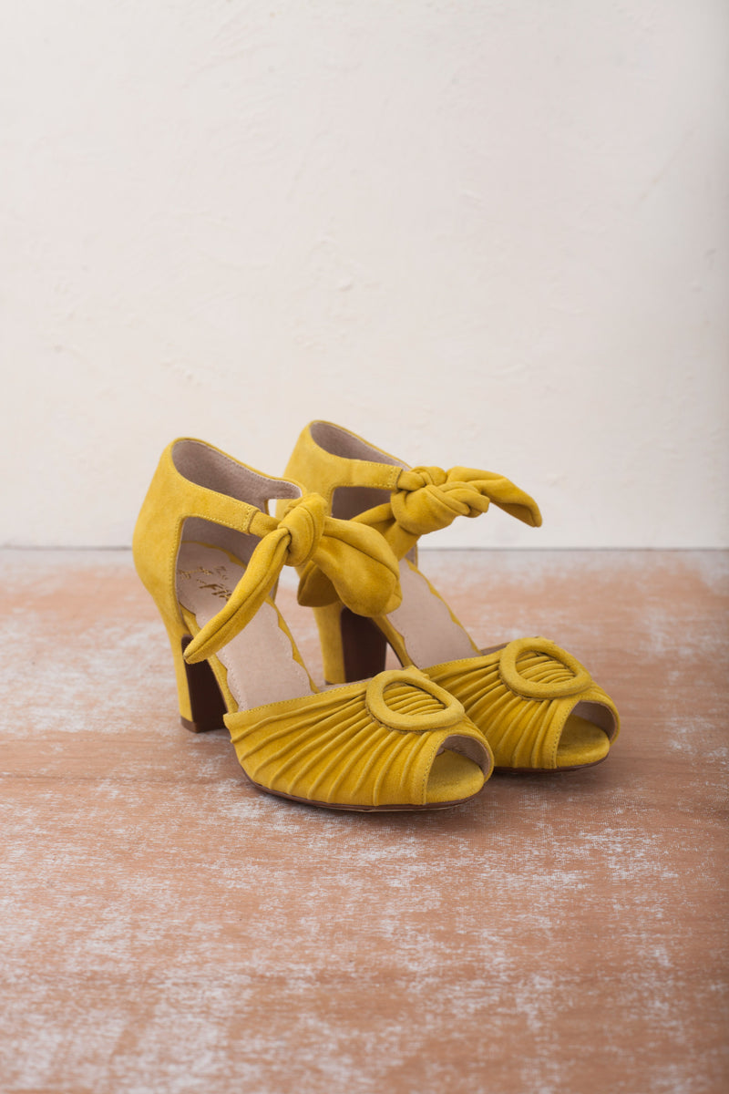 Loretta yellow peep toe heeled sandals by Miss L Fire