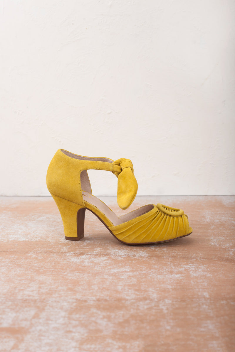 Gorgeous yellow peep toe heels by Miss L Fire. Perfect garden party or Bridesmaid shoes.