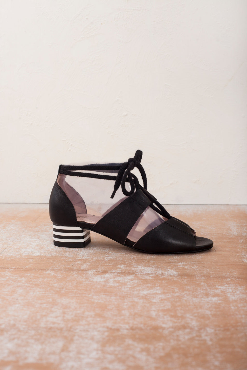 Mable black leather sandal with striped feature heel and cotton cord ties. By Miss L Fire