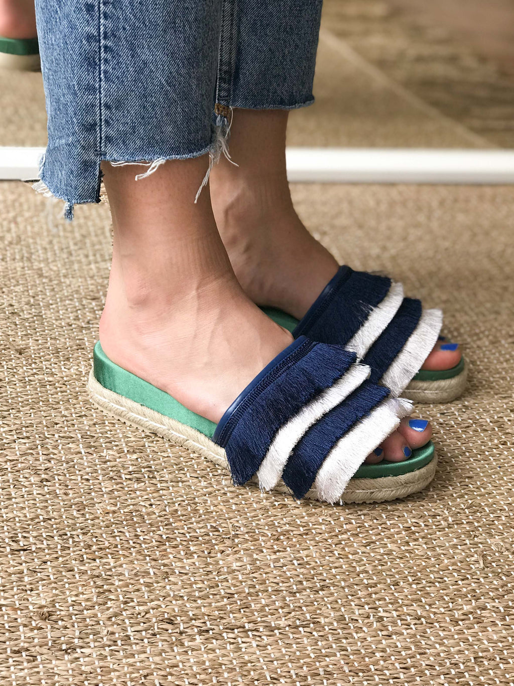 Zoey blue and white striped fringed pool slide with footbed sole by Miss L Fire. Vegetarian summer sandal.