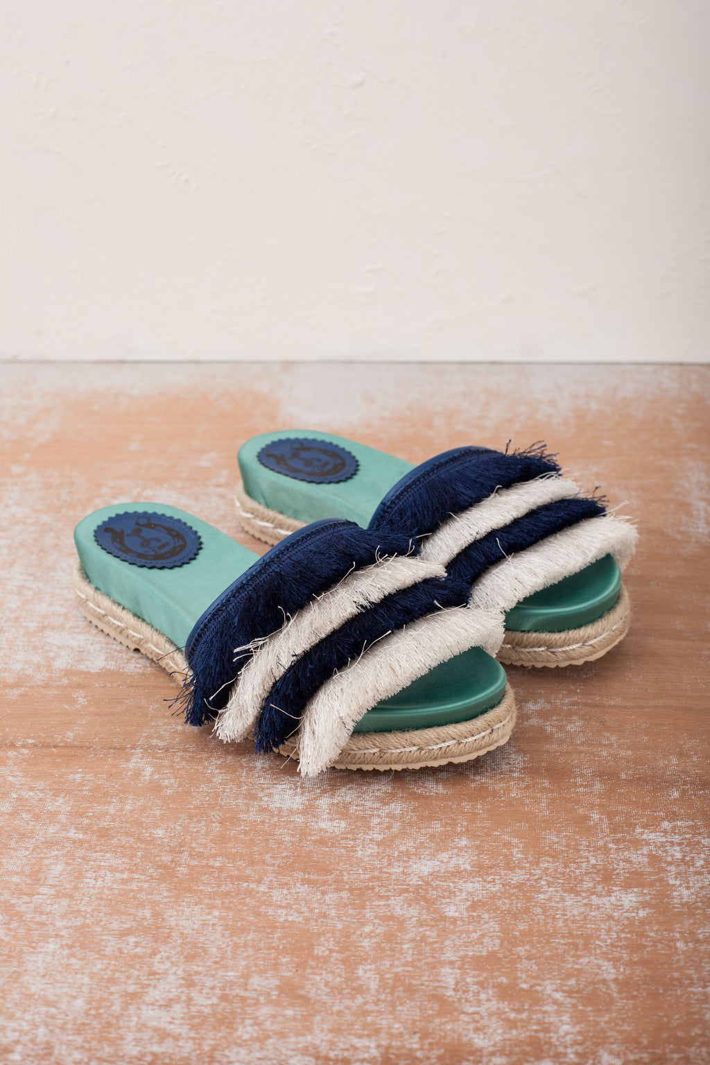 Zoey Navy and Green Espadrille Slide