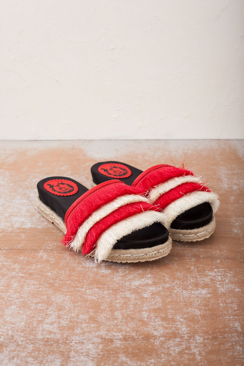 Zoey Red and White Espadrille Slide