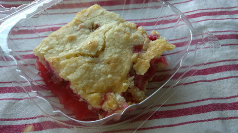 Rhubarb Cherry Cobbler. 10 ounces