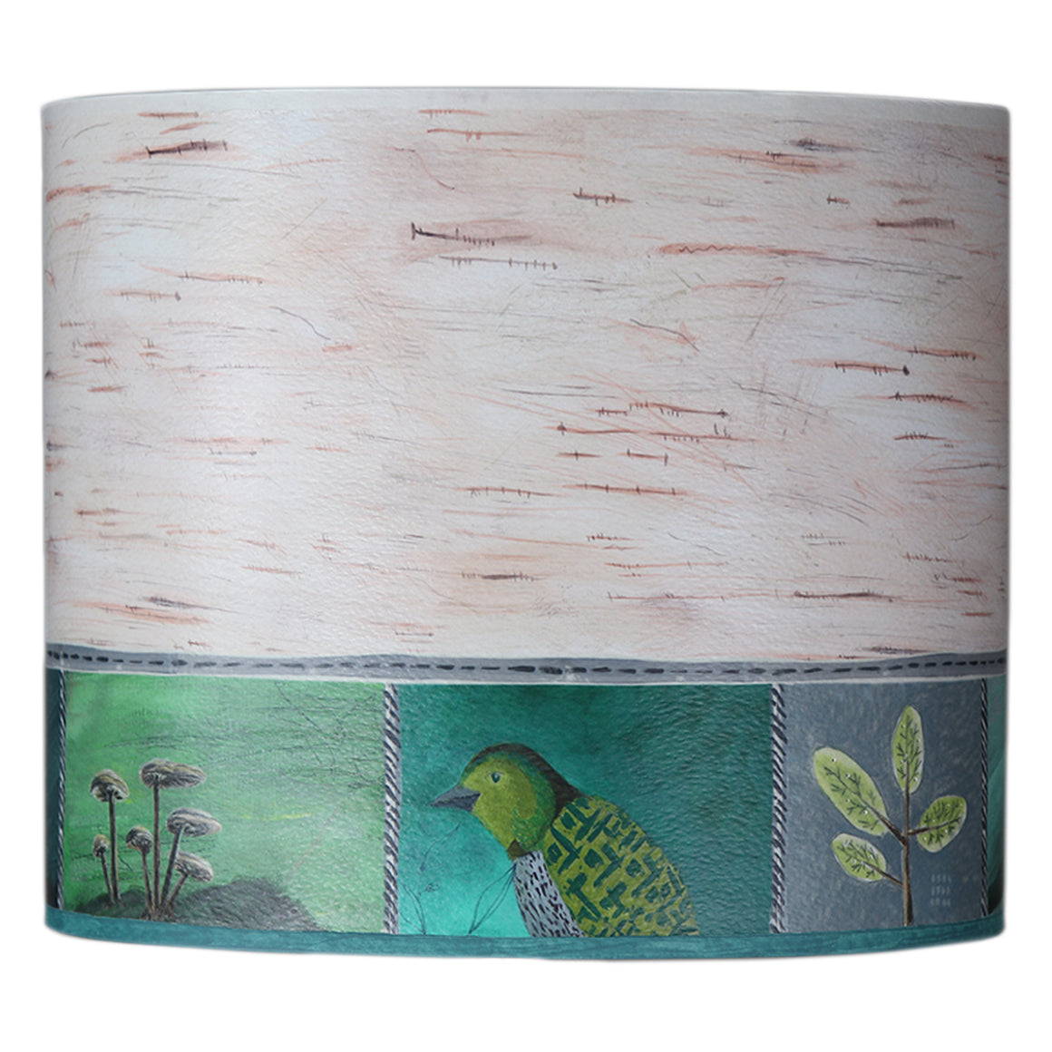 Large Oval Drum Lamp Shade in Woodland Trails in Birch