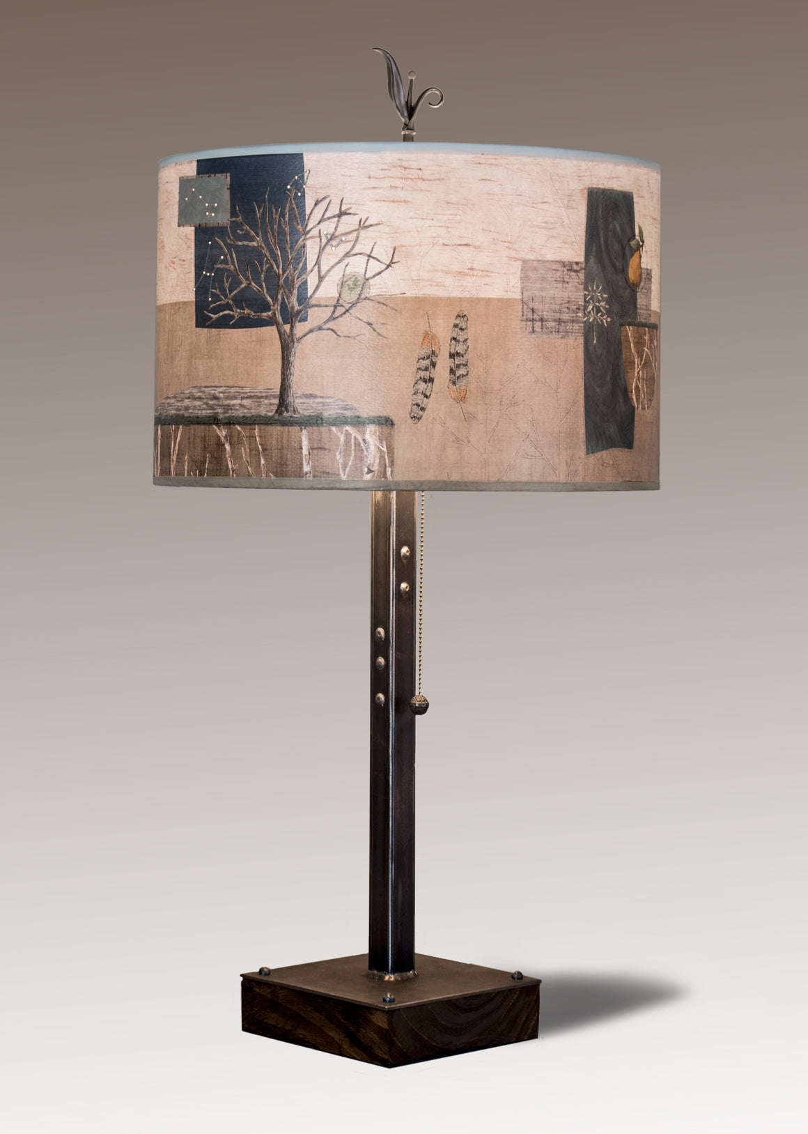 Steel Table Lamp on Wood with Large Drum Shade in Wander in Drift