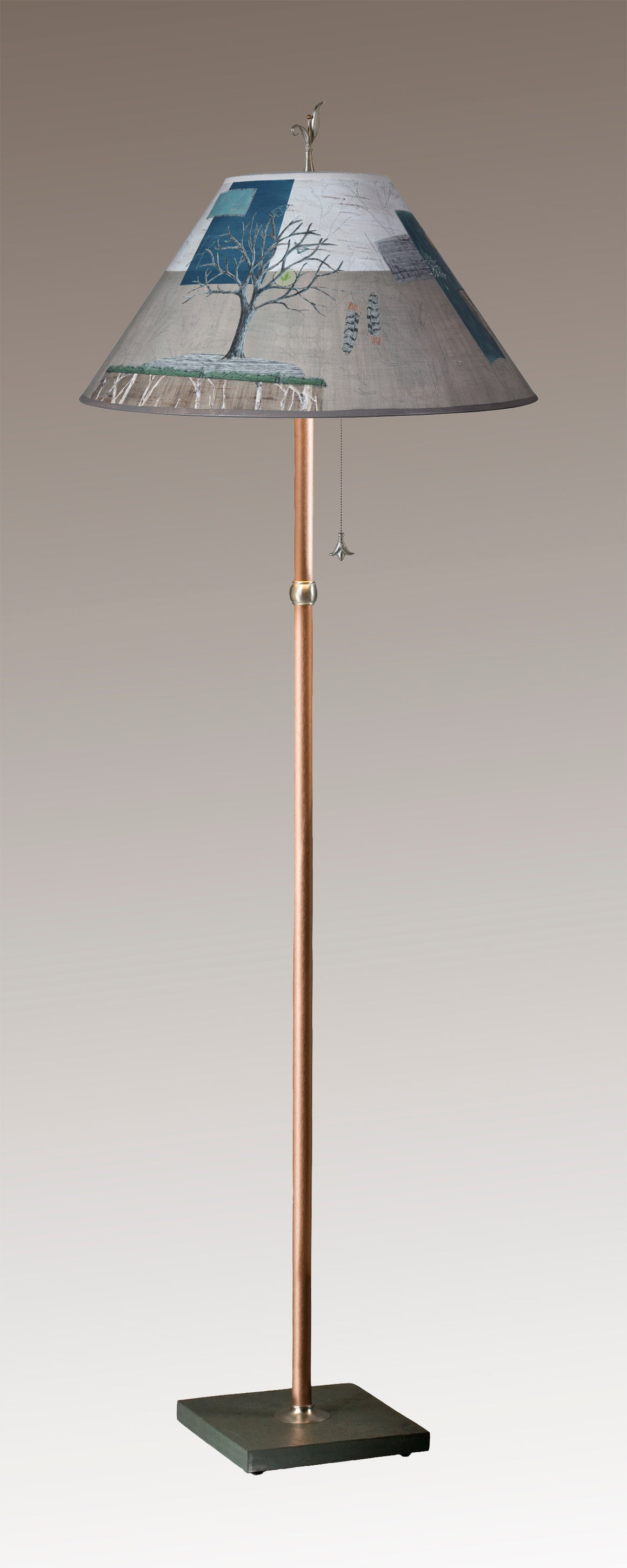 Copper Floor Lamp on Vermont Slate Base with Large Conical Shade in Wander in Drift