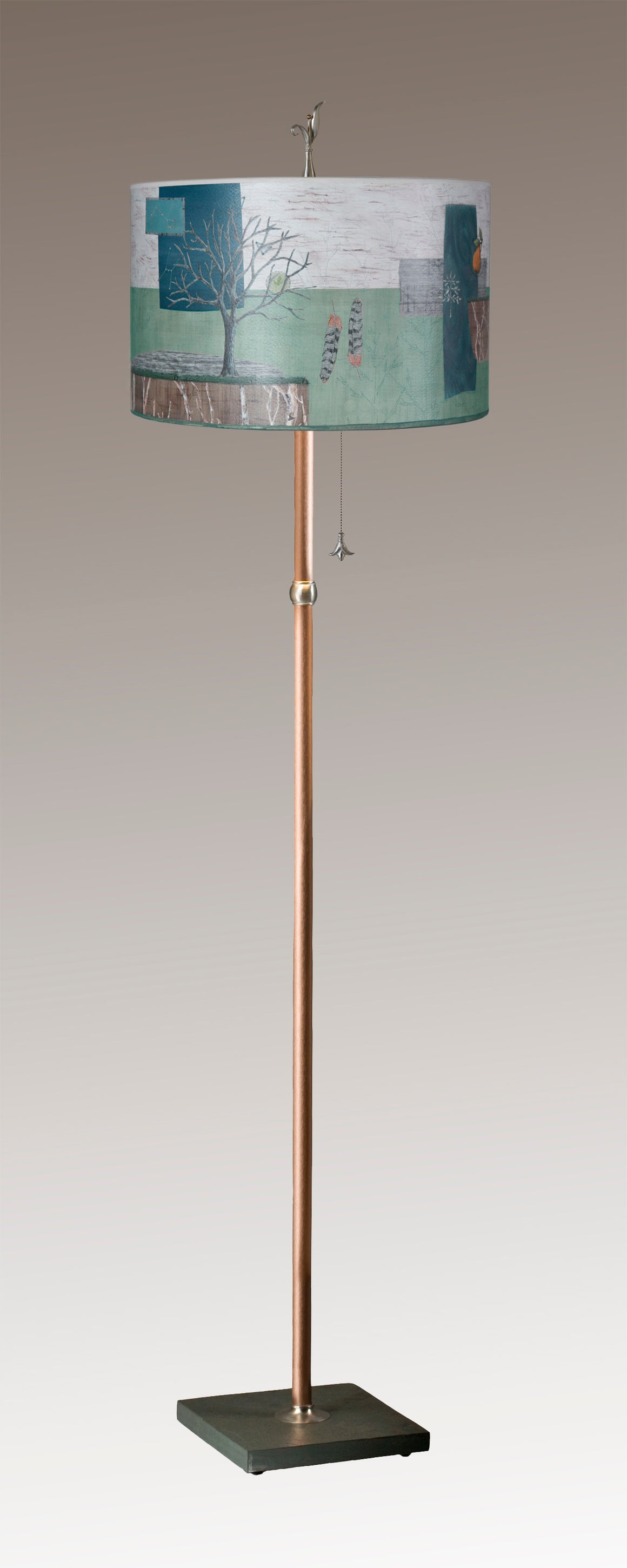 Copper Floor Lamp on Vermont Slate with Large Drum Shade in Wander in Field