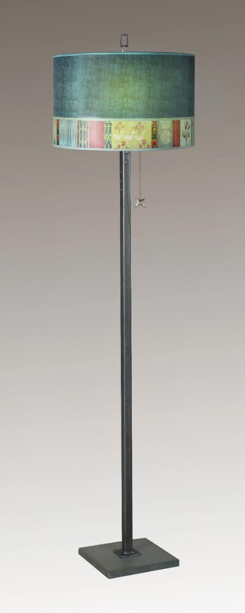 Steel Floor Lamp on Italian Marble with Large Drum Shade in Melody in Jade