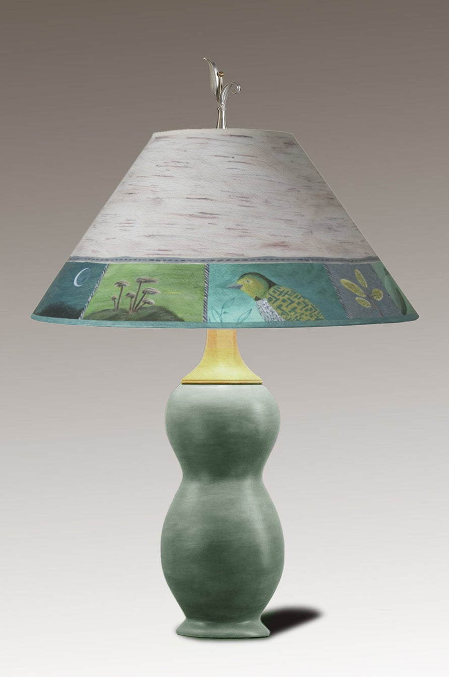 Butternut Squash Ceramic & Walnut Table Lamp with Large Conical Shade in Woodland Trail in Birch