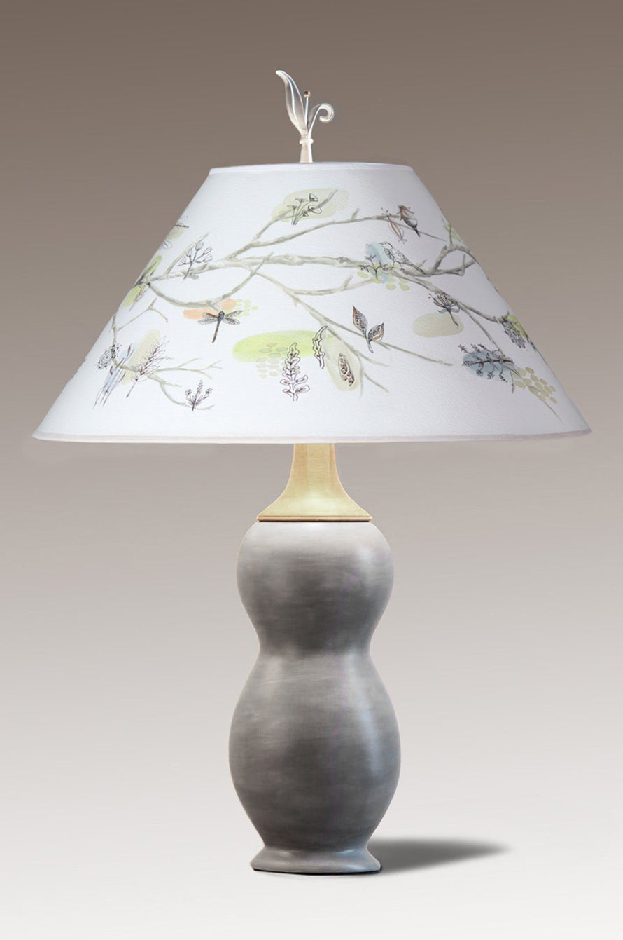 Butternut Squash Ceramic & Walnut Table Lamp with Large Conical Shade in Artful Branch