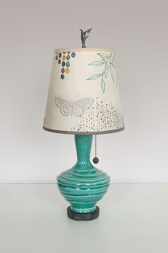 Pool Ceramic Table Lamp with Small Drum Shade in Ecru Journey