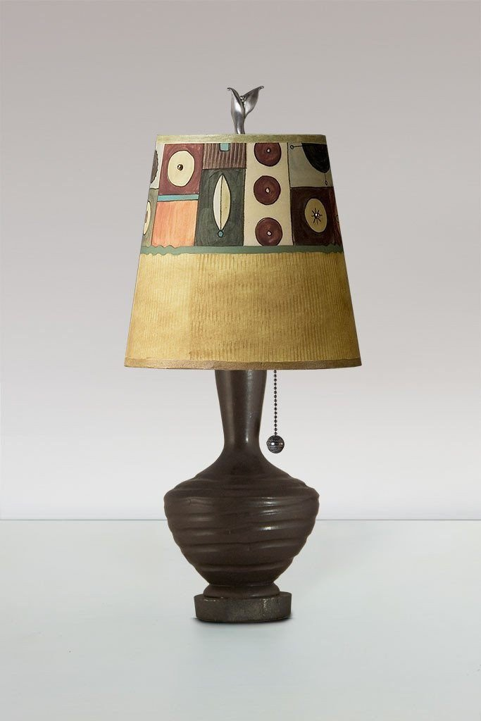 Chocolate Ceramic Table Lamp with Small Drum Shade in Lucky Mosaic Hickory