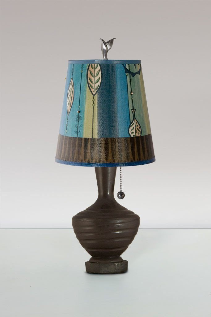 Chocolate Ceramic Table Lamp with Small Drum Shade in Leaf Stripe Blues