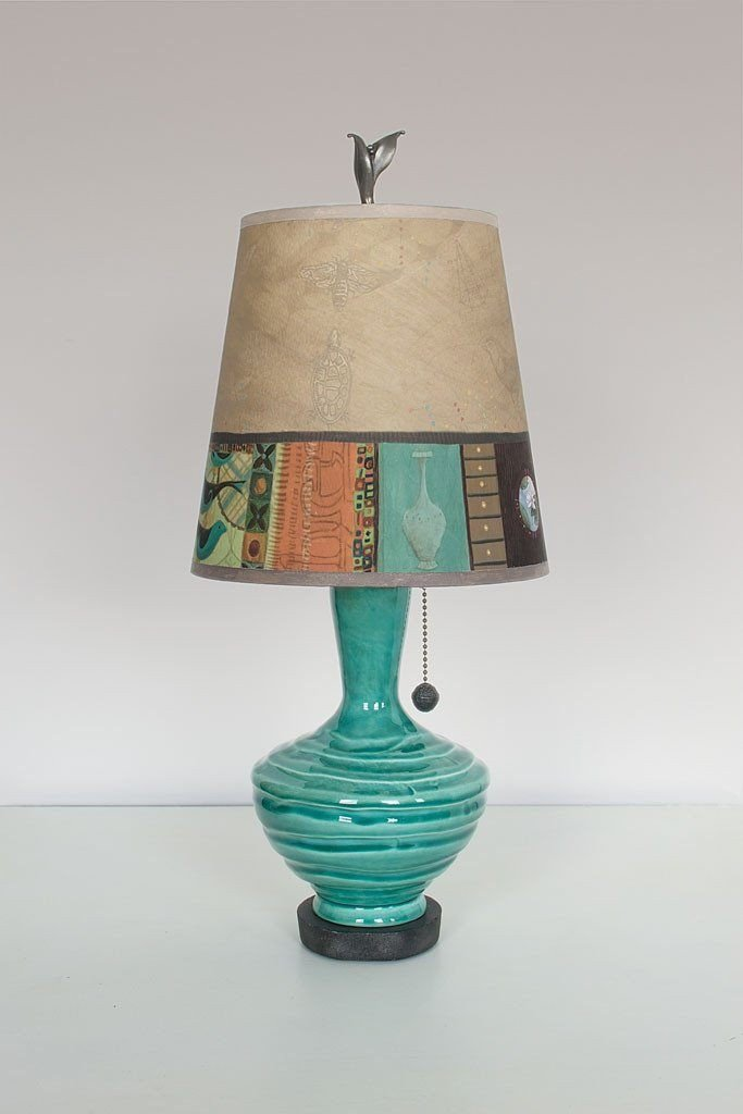 Pool Ceramic Table Lamp with Small Drum Shade in Linen Match