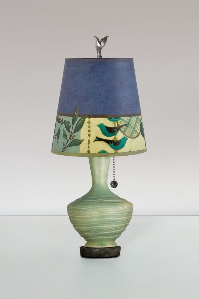 Jade Ceramic Table Lamp with Small Drum Shade in New Capri Periwinkle