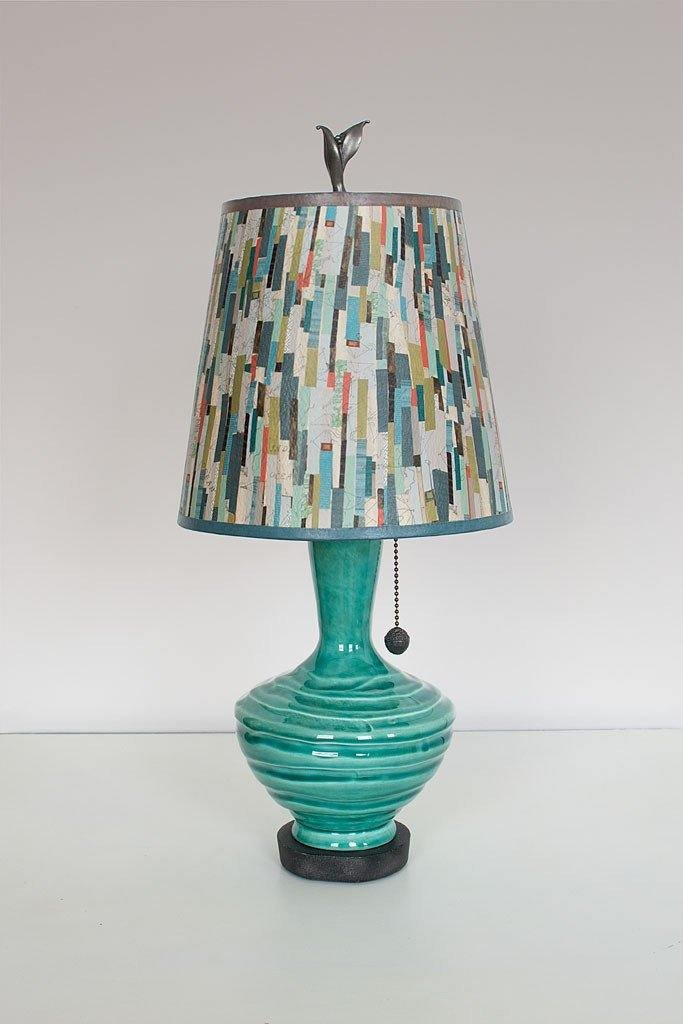 Pool Ceramic Table Lamp with Small Drum Shade in Papers