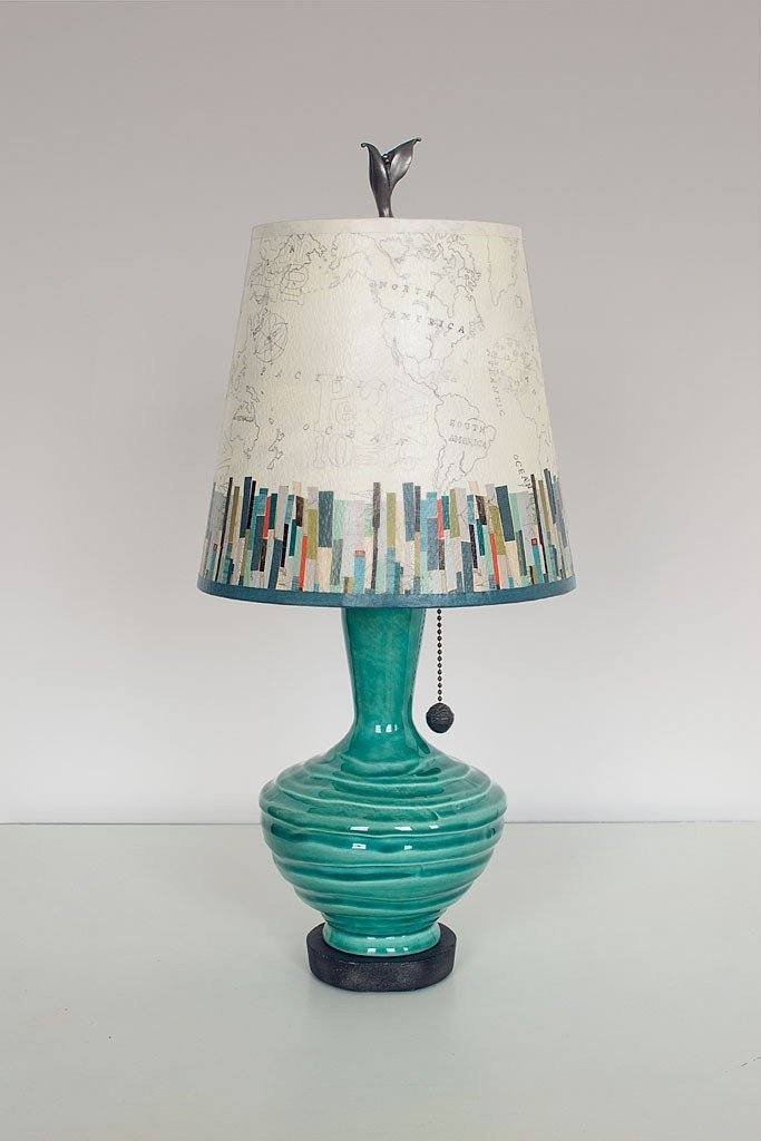 Pool Ceramic Table Lamp with Small Drum Shade in Papers Edge