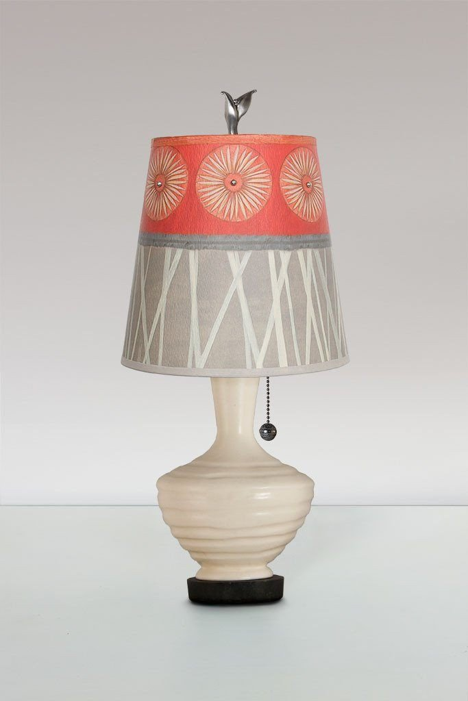 Ivory Ceramic Table Lamp with Small Drum Shade in Tang