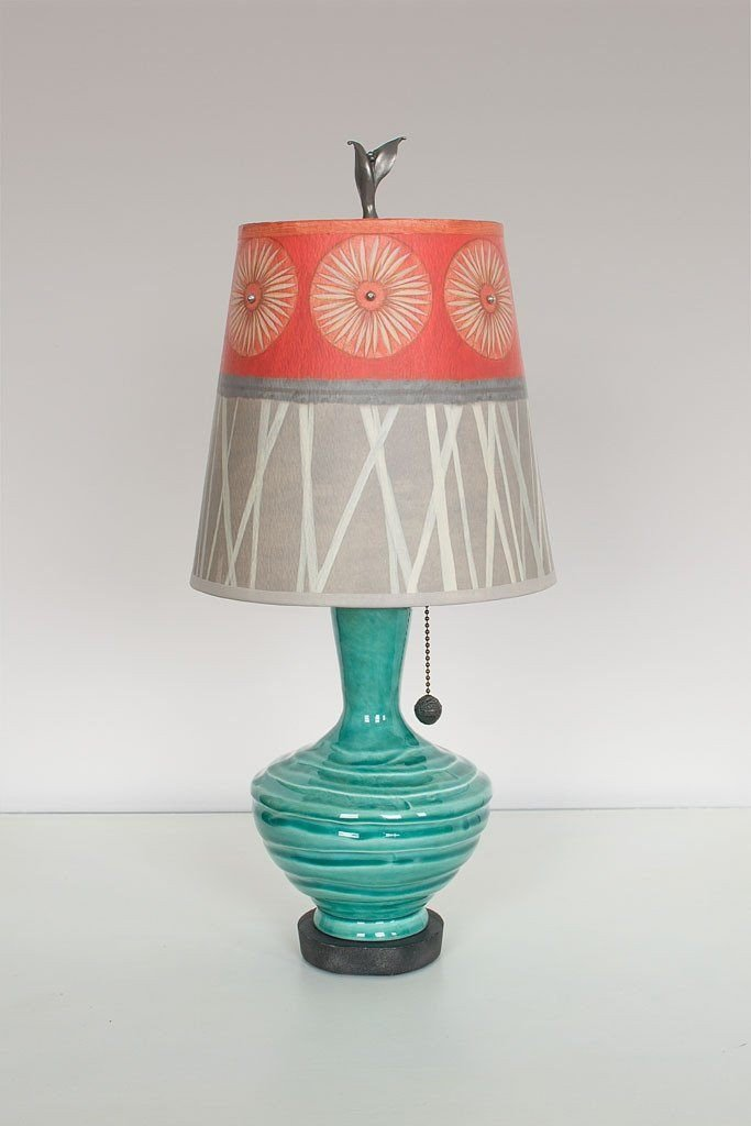 Pool Ceramic Table Lamp with Small Drum Shade in Tang