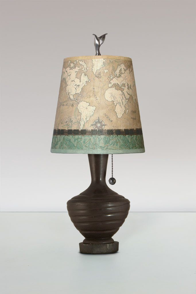 Chocolate Ceramic Table Lamp with Small Drum Shade in Sand Map