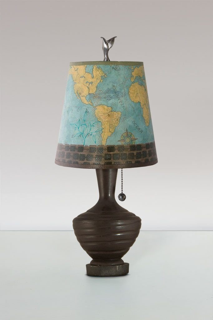 Chocolate Ceramic Table Lamp with Small Drum Shade in Map