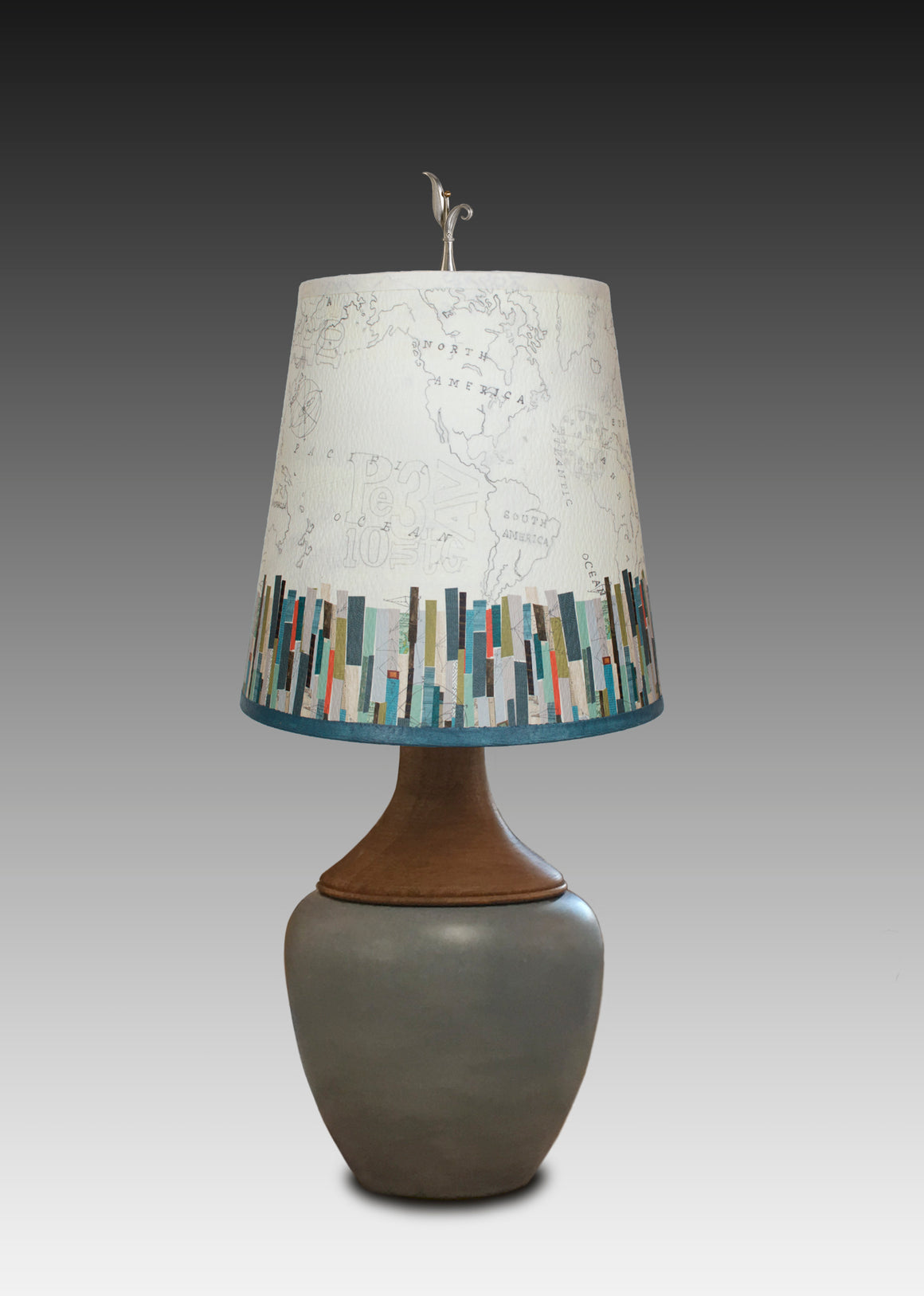 Butternut Squash Ceramic and Walnut Table Lamp with Small Drum Shade in Papers Edge