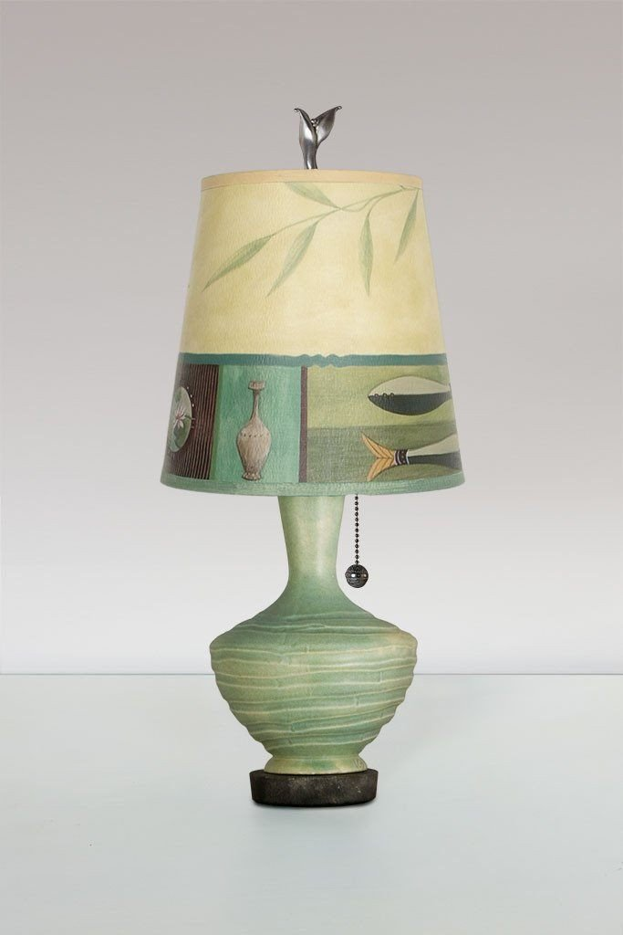 Old Copper Ceramic Table Lamp with Small Drum Shade in Twin Fish