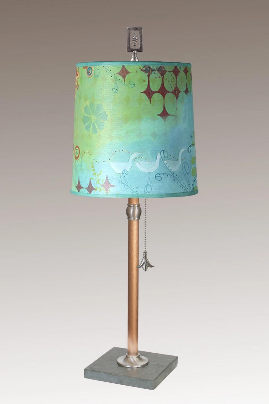 Copper Table Lamp with Medium Drum Shade in Dream Bird
