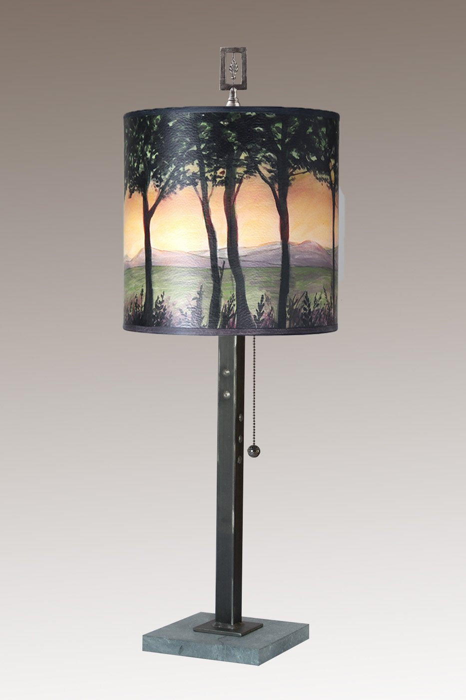 Steel Table Lamp on Marble with Medium Drum Shade in Dawn