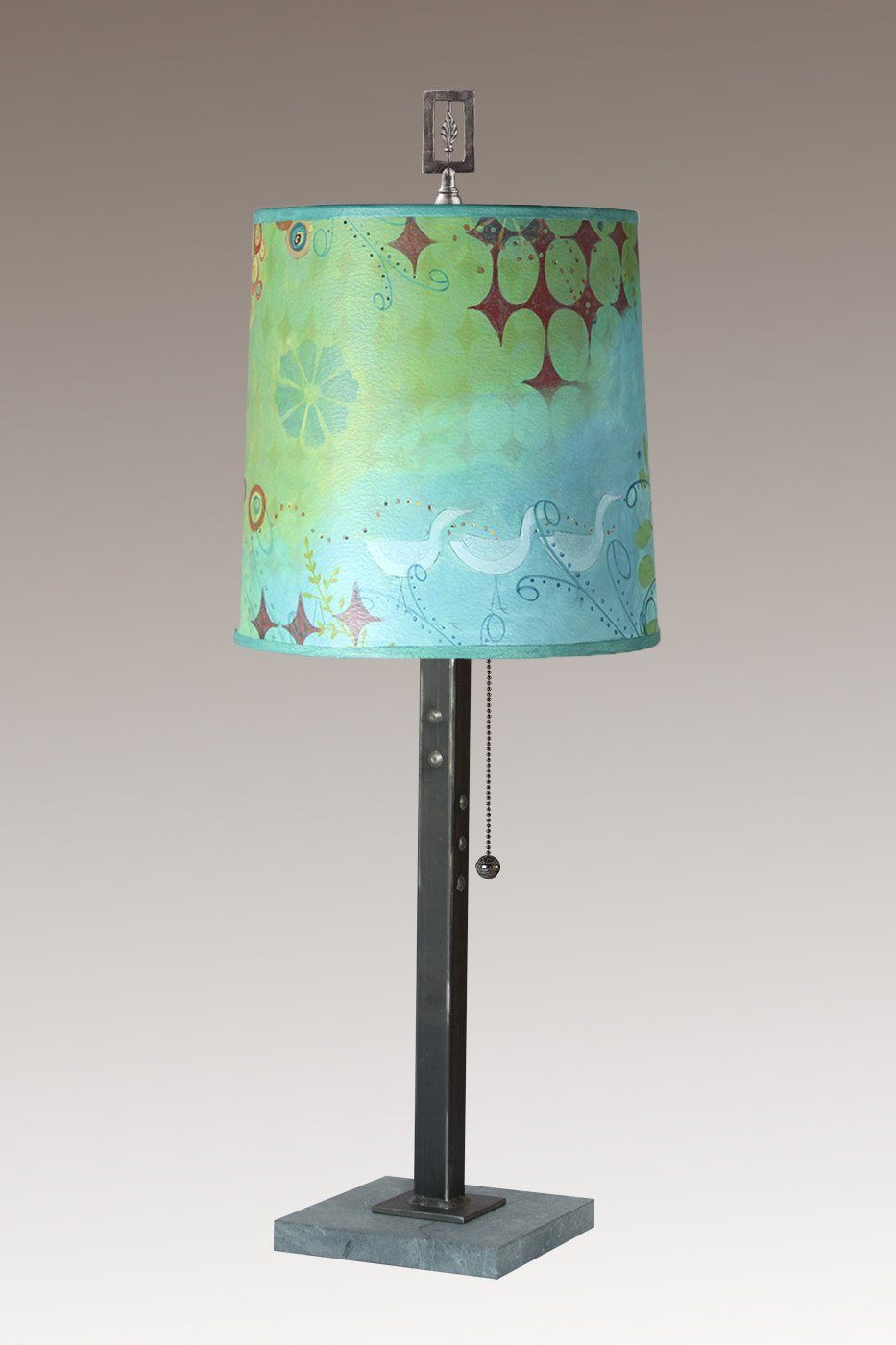 Steel Table Lamp on Marble with Medium Drum Shade in Dream Bird