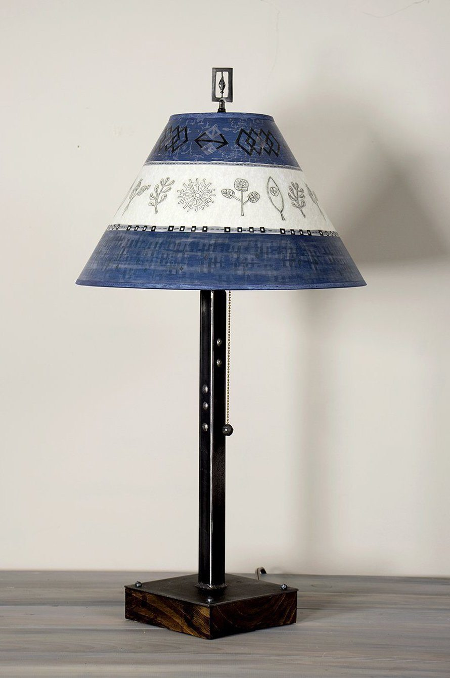 Steel Table Lamp on Wood with Large Conical Shade in Woven Sprig in Sapphire