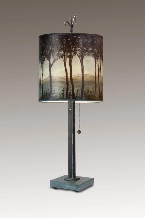 Steel Table Lamp on Italian Marble Base with Small Oval Shade in Twilight