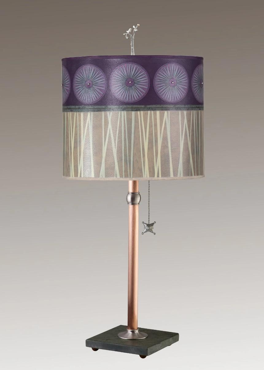 Copper Table Lamp on Vermont Slate Base with Large Oval Shade in Amethyst