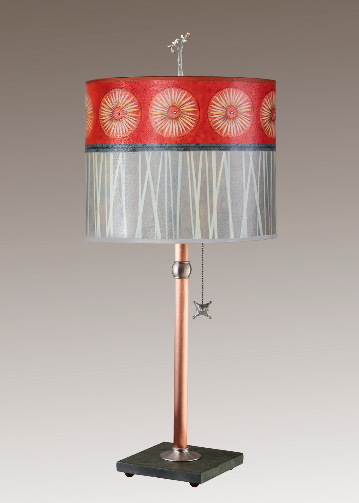 Copper Table Lamp on Vermont Slate Base with Large Oval Shade in Tang