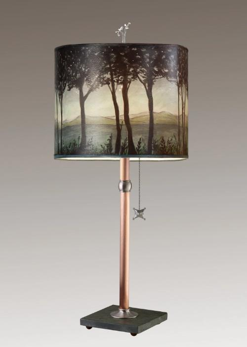 Copper Table Lamp on Vermont Slate Base with Large Oval Shade in Twilight