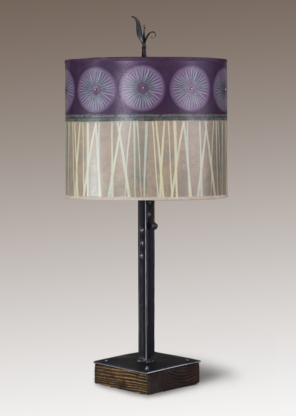 Steel Table Lamp on Wood with Large Oval Shade in Amethyst
