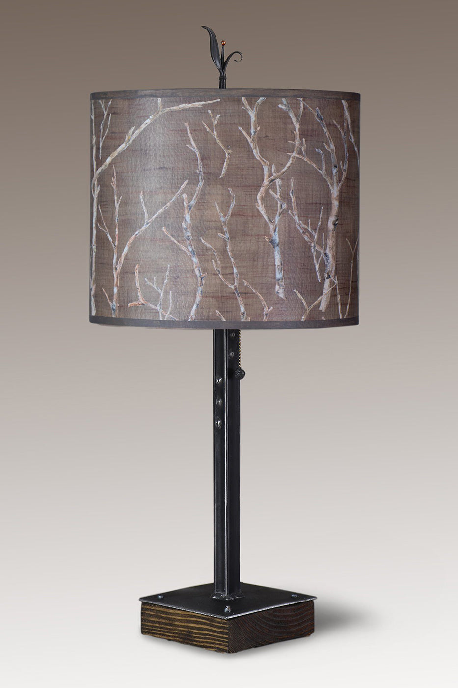 Steel Table Lamp on Wood with Large Oval Shade in Twigs