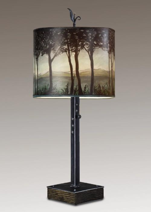 Steel Table Lamp on Wood with Large Oval Shade in Twilight