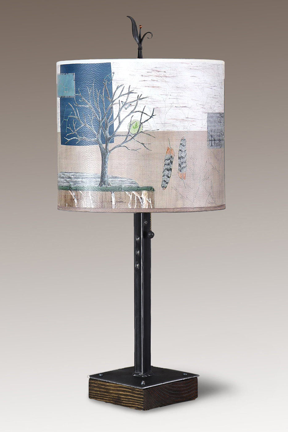 Steel Table Lamp on Wood with Large Oval Shade in Wander in Drift