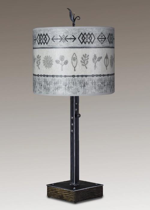 Steel Table Lamp on Wood with Large Oval Shade in Woven & Sprig in Mist