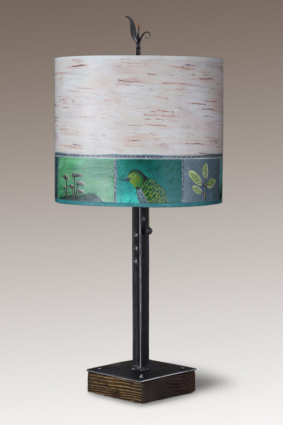 Steel Table Lamp on Wood with Large Oval Shade in Woodland Trails in Birch