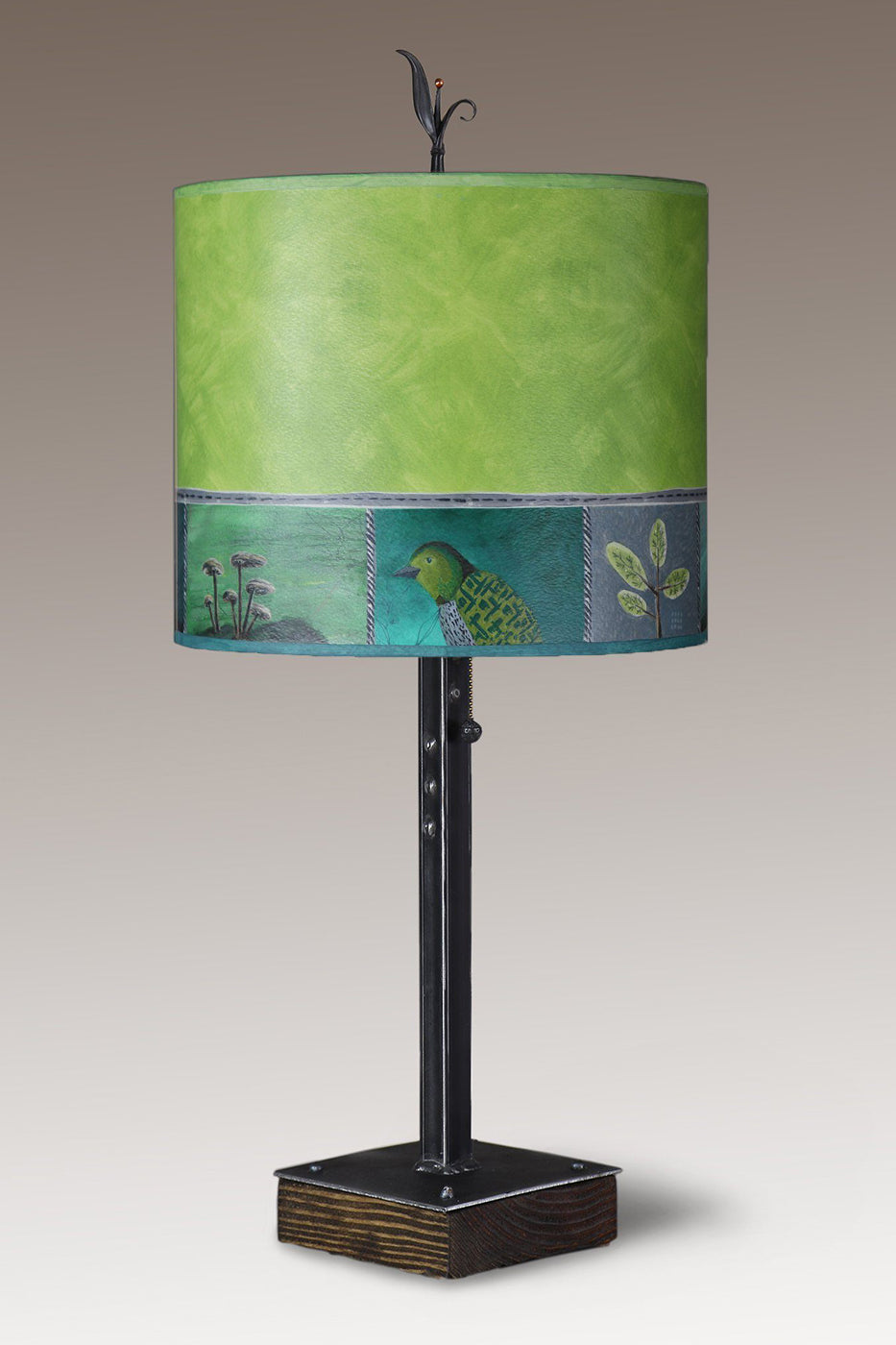 Steel Table Lamp on Wood with Large Oval Shade in Woodland Trails in Leaf