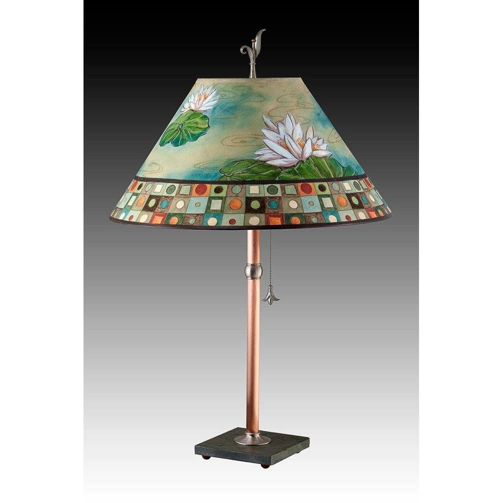 Lily Mosaic Multi Table Lamp with Large Conical Shade