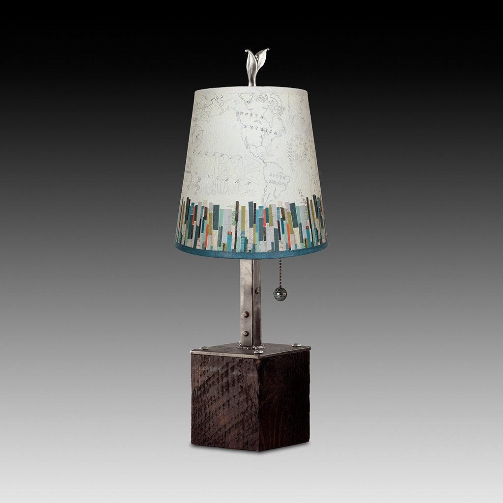 Steel Table Lamp on Reclaimed Wood with Small Drum Shade in Papers Edge