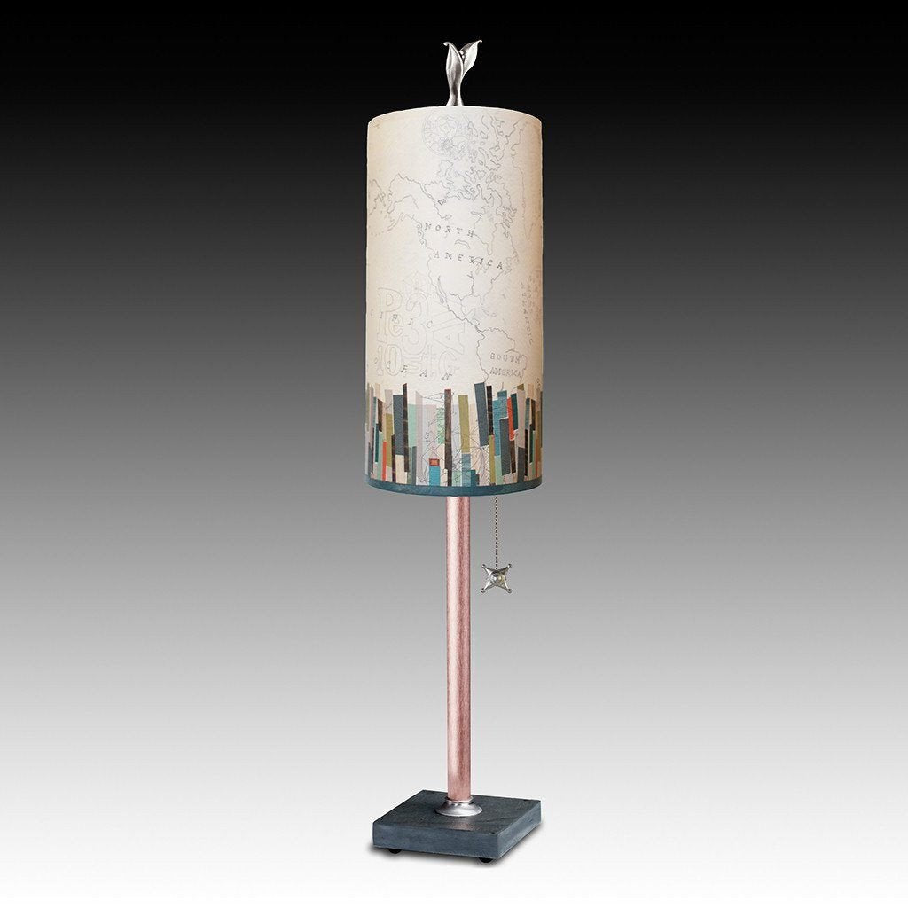 Papers Edge Small Table Lamp with Tube Shade